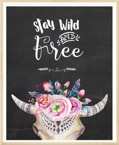 Bull skull art Stay wild and free Boho by LeelaPrintableArt #boho_decor #nursey_print #printable_wall_art
