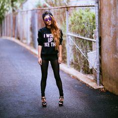 Private Party Sweatshirt, Saint Laurent Heels, Ray Ban Sunglasses, Legging