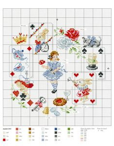 Alice in Wonderland - Veronique Enginger Cross Stitch Fairy, Cross Stitch For Kids, Cross Stitch Boards, Mini Cross Stitch, Needlepoint Patterns, Embroidery Patterns, Cross Stitch Designs, Cross Stitch Patterns, Cross Stitching