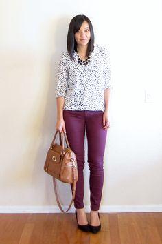 (summer/fall/work) polka dot top, wine-colored pants, black pumps, black neckalce