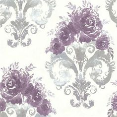 484-68066 Purple Scrolling Floral Urn - Allana - Beacon House Wallpaper