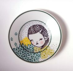 hand painted plate. $30.00, via Etsy.