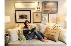 I like the different types of frames above the couch - Jillian Harris via Ten June