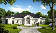 Projekt to piękna parterowa willa wiejska, przywołująca szlachecki dworek, albo angielski czy amerykański manor house. Rozłożysta podłużna bryła, zbudowana na planie prostokąta, przykryta jest ładnym czterospadowym dachem.