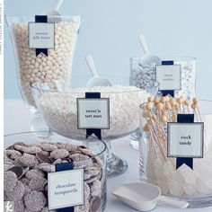 white candy bar- like the different glass bowls and tags
