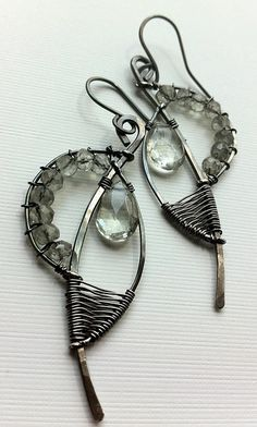 green amethyst wire wrapped earrings