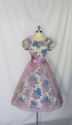 1950's Vintage Dress - Lavender Chiffon Over Blue and Purple Roses Full Skirt Party Frock