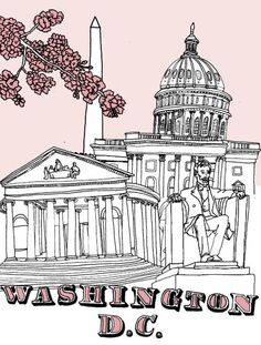 Washington D. city guide from Design*Sponge (includes outlying areas like Bethesda!) Gotta visit some museums and monuments before I ETS! Washington Dc City, America Washington, Illustrations, Spring Break, Summer, Travel Posters, Vacation Trips, Trip Planning, North America