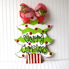 Christmas Tree Door Hanger, Chevron Christmas Decor, Christmas Wreath, Holiday…