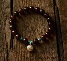 Garnet Yoga Bracelet, Prayer Beads, Yoga Jewelry, Artisan Om Silver Charm, Tibetan Jewelry, Heal Chakra, Buddha Bracelet, Chakra Bracelet