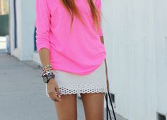 slouchy neon shirt with beige skirt, adorable