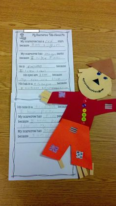 Fun in First Grade: Scarecrow Glyph and Writing -great for beginning writing clues. I made my own fill in the blank for my writing beginners 1st Grade Writing, Work On Writing, First Grade Classroom, First Grade Math, Teaching Writing, Teaching Ideas, Writing Ideas, Grade 1, Writing Strategies
