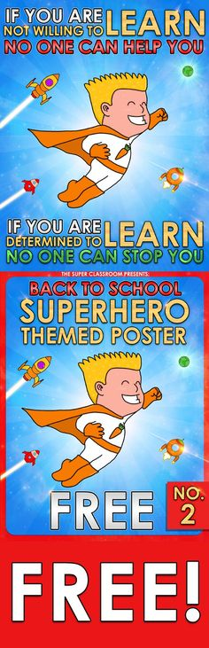 Back to School - Superhero themed poster - no.2 - FREE Here you are another FREE poster for your superhero themed classroom! :)