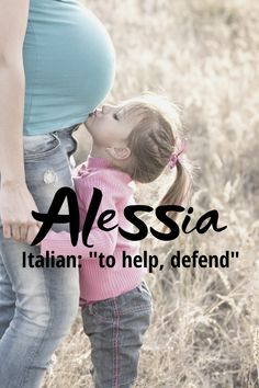 """Alessia is a beautiful Italian form of the name Alexis meaning """"defender"""". It was ranked for girls names in 2018 and there were 528 girls given that year. Sia or Ally would be cute nicknames. Modern Baby Girl Names, Modern Names, Baby Names, Cute Nicknames, Character Names, Writing Resources, Meant To Be, Lettering, Girls"""