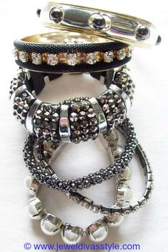 JDS - BLACK CRYSTAL AND BEAD BRACELET STACK - http://jeweldivasstyle.com/my-personal-collection-black-and-white-jewellery/