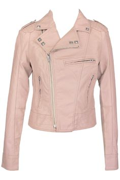 perfect light pink leather jacket, need for spring.