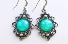 "Dangle Brass Earrings ""Emerald Sea""  from Schicki Schmuck by DaWanda.com"