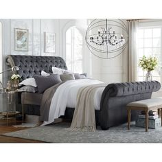 Tailor button tufted and pleated upholstery. Heavy padding and Bombay roll design. Stocked in Queen and King size. Includes three slats for added support.