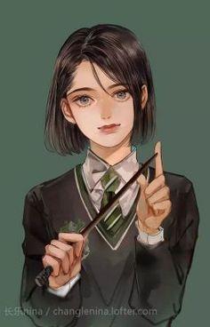 Harry Potter Fan Art, Cute Harry Potter, Harry Potter Drawings, Harry Potter Pictures, Harry Potter Characters, Pansy Harry Potter, Hogwarts, Slytherin, Arte Do Kawaii