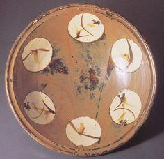 柿釉丸紋大平鉢