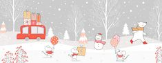 Draw illustration banner car carry gift box and animal playing in snow for Christmas day and New year Winter concept. Winter Background, Vector Background, Doodle Cartoon, Christmas Drawing, New Year Card, Portfolio, Cartoon Styles, Royalty Free Images, Illustration