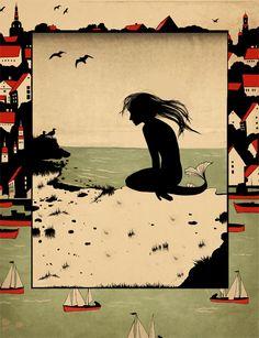 "Natalia Akimova : Illustration for ""The Little Mermaid"", written by Hans Christian Andersen Real Mermaids, Mermaids And Mermen, Magical Creatures, Sea Creatures, Little Mermaid Art, Tarot, Andersen's Fairy Tales, Mermaid Images, Hans Christian"