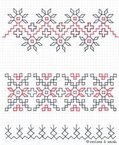 Blackwork Sampler- again, not knitting but I Love stitching black work Kasuti Embroidery, Swedish Embroidery, Indian Embroidery, Hand Embroidery Stitches, Hand Embroidery Designs, Embroidery Techniques, Cross Stitch Embroidery, Cross Stitch Patterns, Motifs Blackwork