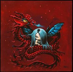 Art 'Red Dragon and Fairy' - by Nico Niemi from mixed Baby Dragon, Red Dragon, Dragon Art, Magical Creatures, Fantasy Creatures, Fantasy Kunst, Fantasy Art, Dragon Pictures, Witch Pictures