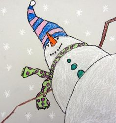 "Artsonia Art Museum :: Artwork by From exhibit ""Worm's Eye View of a Snowman"" by (Art ID from Cedar Creek Elementary— grade 3 United States Winter Art Projects, School Art Projects, Christmas Art Projects, Art 2nd Grade, Grade 3, Classe D'art, Art Lessons Elementary, Art Lesson Plans, Art Classroom"