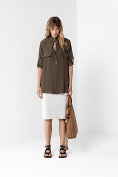 Bronze Field Shirt White Mid Double Skirt