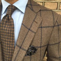 """danielmeul: """" #ootd #cashmere jacket by @cesareattolini #shirt by @finamore1925 #tie and pocket square by @violamilano #bespoke #tailoring #handmade in Italy #pauwmannen #a gentlemen can wear brown..."""