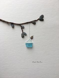 Meer Glas und Stein Kunst von Sharon Nowlan von PebbleArt auf Etsy