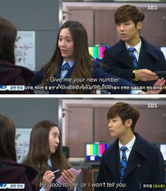 Yoon Chan Young and Lee Bo Na (Kang Min Hyuk and Krystal Jung) I ship them so much Heirs Korean Drama, Korean Drama Funny, Korean Drama Quotes, The Heirs, Korean Dramas, Cnblue, Super Junior, Live Action, It's Over Now