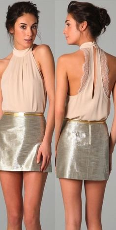 alice + olivia lace back halter w/myra metallic mini--- > love this outfit! Nye Outfits, Vegas Outfits, Party Outfits, Club Outfits, Woman Outfits, Vestidos Sexy, Fashion Beauty, Womens Fashion, Ladies Fashion