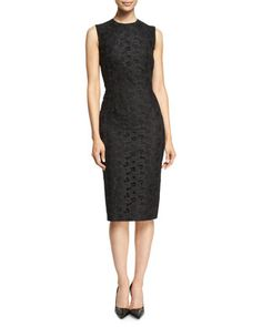 Sleeveless Lace-Front Sheath Dress, Black by Victoria Beckham at Neiman Marcus.