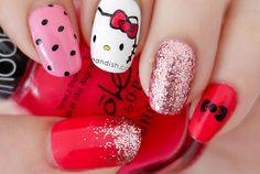 Hello Kitty Inspired Nail Tutorial (Konad Stamping)