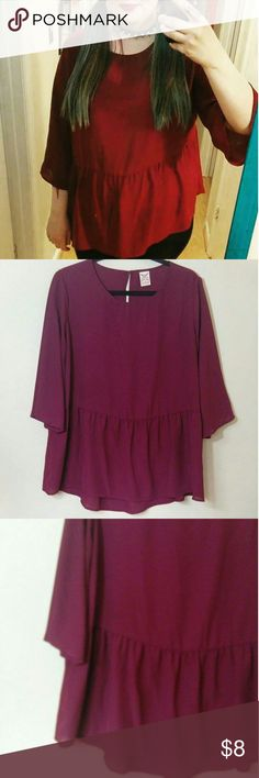 ❤Burgundy Babydoll Top❤ Absolutely adorable 90s themed baby doll top. Worn once come a hundred percent polyester. Faded Glory Tops
