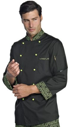 € 39,00 - Chaqueta Chef Negra Maori 59294 ISACCO Hotel Uniform, Uniform Shop, Scrubs Uniform, Staff Uniforms, Boys Uniforms, American Uniform, Restaurant Uniforms, Apron Designs, Uniform Design