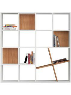 Bibliothèque Honey blanche et marron clair 125 x 125 x 24 cm