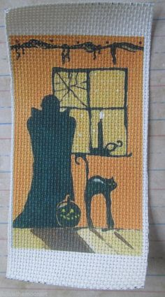 Dracula Cross Stitch Stamped Cloth Adia 14 ct pattern  Black Cat Halloween