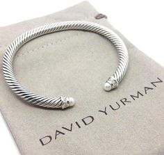 David Yurman Pearl DIAMOND CABLE STERLING SILVER 5MM BANGLE BRACELET #DavidYurman #Cuff