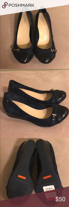 Cole Haan Tali Nike Air Wedge Flat Women's size 9.5,  navy with gold hardware. Never worn. Cole Haan Shoes Flats & Loafers