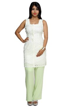 Lace Dress and Lime Crepe Pants by Shefali Vohra Chawla