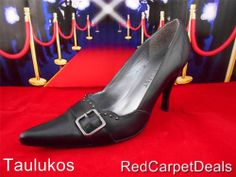 Womens shoes NINE WEST Black LEATHER High Heel Pumps Pointy-toe Stiletto 6.5 M