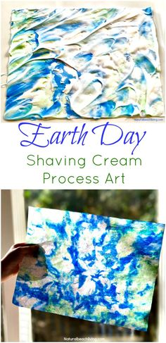 Earth Day Art Activities, Shaving Cream Marbled Paper, a perfect process art for preschoolers and kindergarten, Easy Earth Day Crafts for kids Earth Day Activities for Kids Earth Day Projects, Spring Art Projects, Earth Day Crafts, Toddler Art Projects, Projects For Kids, Crafts For Kids, Toddler Crafts, Art Activities For Toddlers, Earth Day Activities