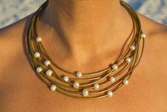 Learther pearl necklace  pearl leather by LeatherPearlJewelry, $98.00