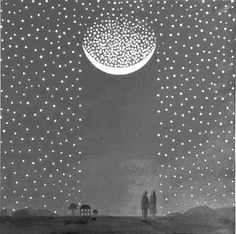 Stars and moon illustration Illustration Arte, Art Carte, A4 Poster, To Infinity And Beyond, Stars And Moon, Sun Moon, Constellations, Artsy Fartsy, Les Oeuvres