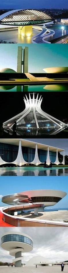 Oscar Niemayer.Brasil.O Museu Oscar Niemeyer localiza-se na cidade de Curitiba, capital do estado do Paraná, BrasiL. O Museu de Arte Contemporânea em Niterói, Est. Rio de Janeiro.A Catedral Nossa Sra. Aparecida fica em Brasília, Palácio do Planalto idem.