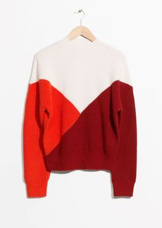& Other Stories image 1 of Colour Block Sweater in White/ Red