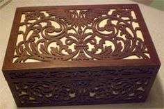 Wooden ladies work box scroll saw fretwork pattern